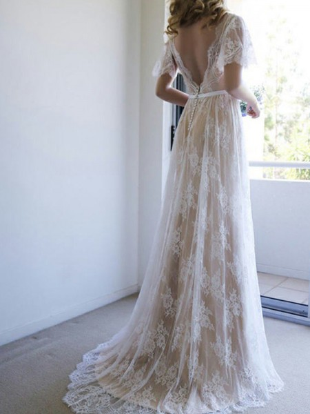A-Line/Princess Short Sleeves Sash/Ribbon/Belt V-neck Lace Long Wedding Dress