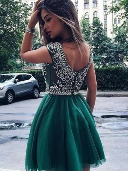 A-Line/Princess Scoop Sleeveless Beading Tulle Short Dresses