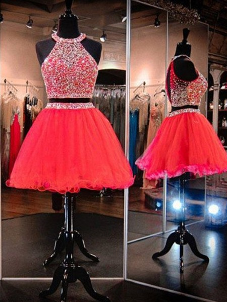 A-Line/Princess Halter Sleeveless Beading Tulle Short Dresses