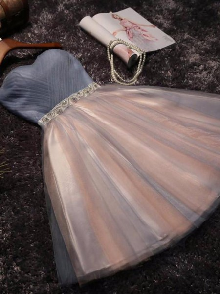 A-Line/Princess Sweetheart Sleeveless Beading Tulle Short Dresses