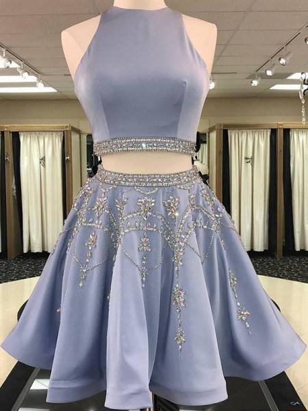 A-Line/Princess Bateau Sleeveless Beading Satin Short Two Piece Dress
