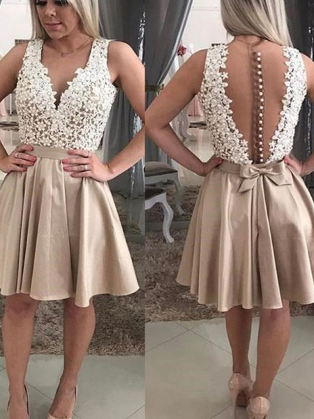 A-Line/Princess V-neck Sleeveless Beading Satin Short Dresses