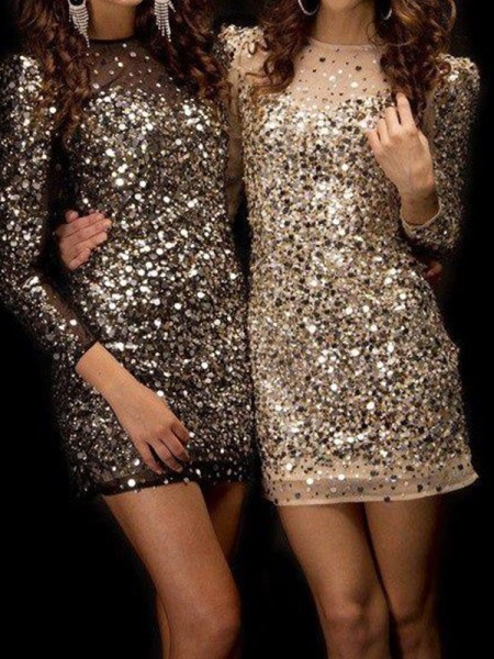 Sheath/Column Bateau Long Sleeves Beading Sequins Short Dresses