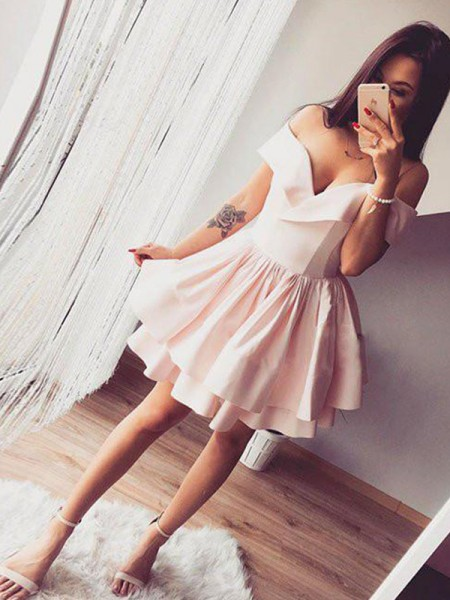 A-Line/Princess Off-the-Shoulder Sleeveless Ruffles Satin Short Dresses