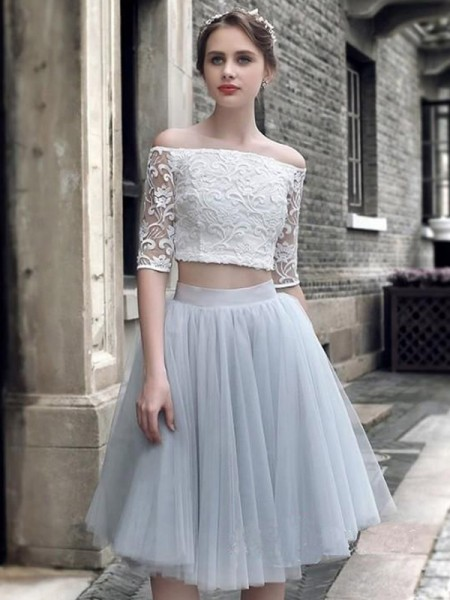 A-Line/Princess Off-the-Shoulder 1/2 Sleeves Ruched Tulle Knee-Length Two Piece Dress