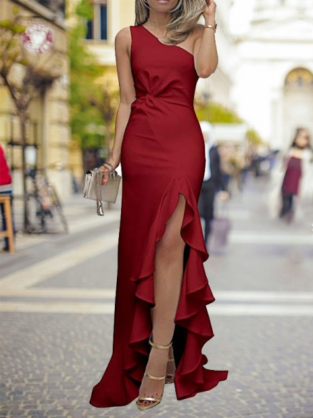 Sheath/Column Ruffles Sweep/Brush Train One-Shoulder Sleeveless Silk Like Satin Dresses