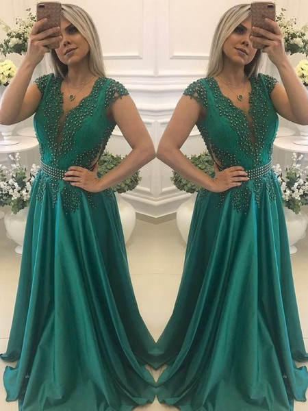 A-Line/Princess Beading Floor-Length V-neck Short Sleeves Silk Like Satin Dresses