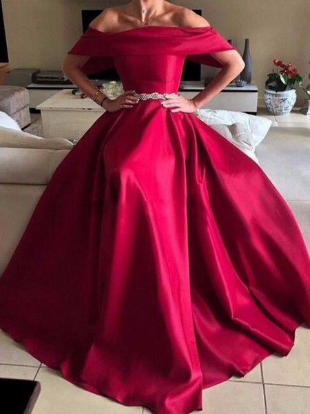 A-Line/Princess Off-the-Shoulder Sleeveless Sash/Ribbon/Belt Satin Long Dresses