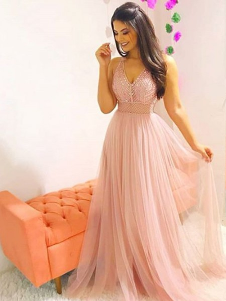 A-Line/Princess V-neck Sleeveless Crystal Tulle Long Dresses