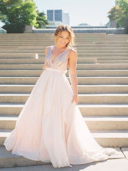 A-Line/Princess V-neck Sleeveless Sequin Tulle Long Dresses