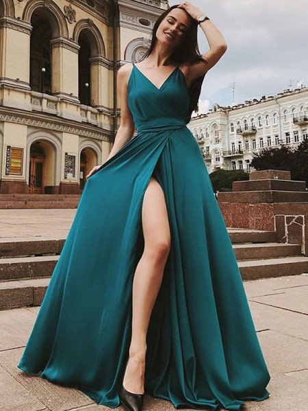 A-Line/Princess Straps Sleeveless Ruffles Satin Chiffon Long Dresses