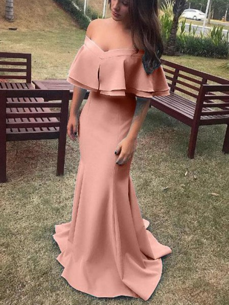 Sheath/Column Off-the-Shoulder Sleeveless Ruffles Satin Long Dresses