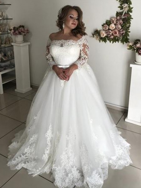 A-Line/Princess Off-the-Shoulder Long Sleeves Tulle Long Wedding Dresses