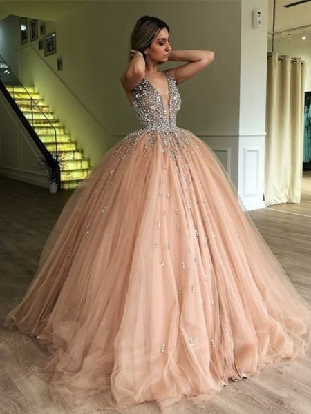 Ball Gown V-neck Sleeveless Beading Tulle Long Dresses