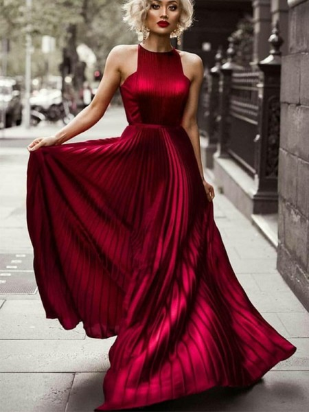 A-Line/Princess Halter Sleeveless Ruched Silk like Satin Long Dresses
