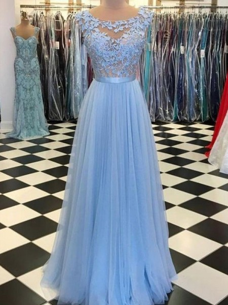 A-Line/Princess Scoop Sleeveless Applique Tulle Long Dresses