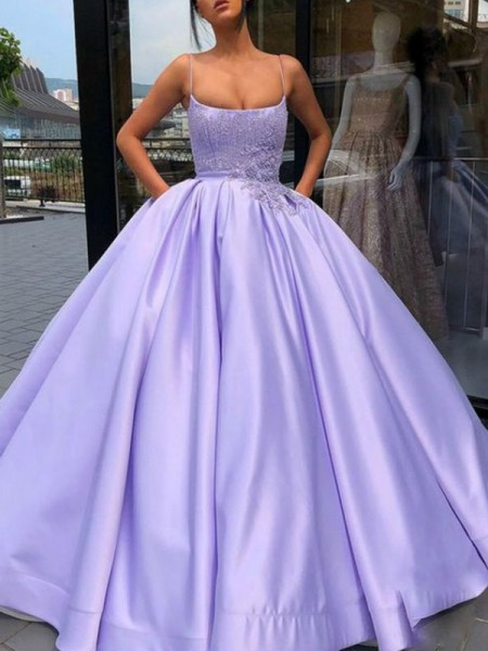Ball Gown Spaghetti Straps Sleeveless Applique Satin Long Dresses