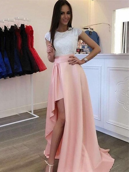 A-Line/Princess Scoop Short Sleeves Satin Long Dresses
