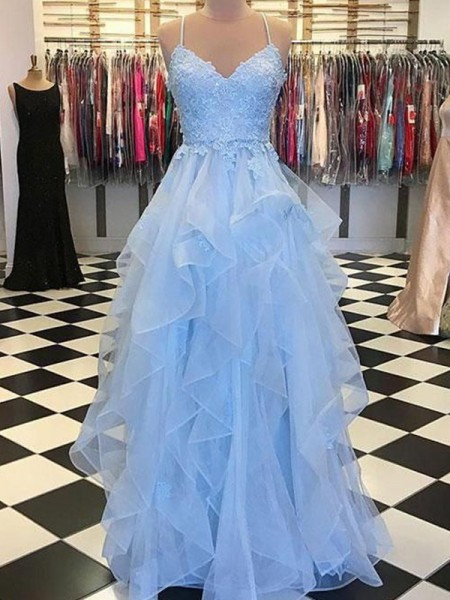 A-Line/Princess Spaghetti Straps Sleeveless Applique Organza Long Dresses