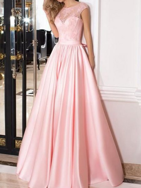 A-Line/Princess Sheer Neck Sleeveless Satin Long Dresses