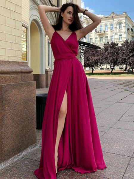 A-Line/Princess Spaghetti Straps Sleeveless Sweep/Brush Train Satin Chiffon Ruffles Dresses