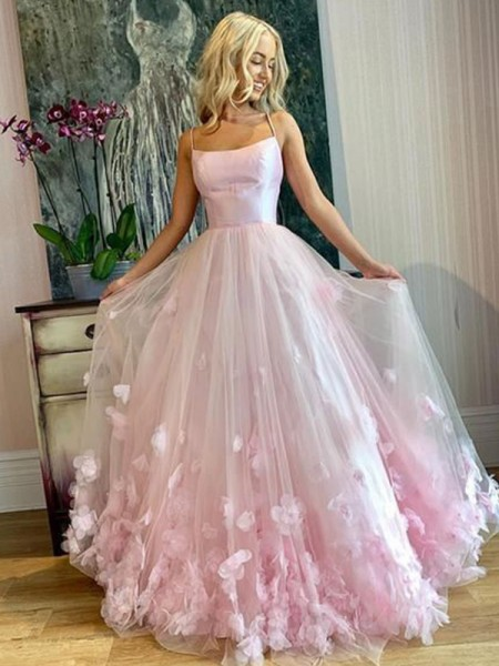 A-Line/Princess Bateau Sleeveless Floor-Length Tulle Applique Dresses