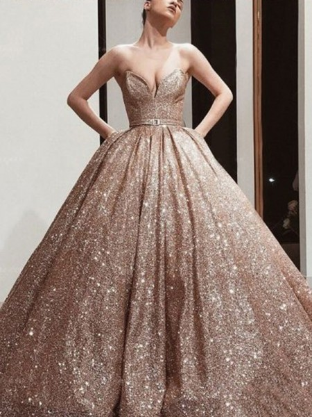 Ball Gown Sweetheart Sleeveless Floor-Length Sequins Sash/Ribbon/Belt Dresses