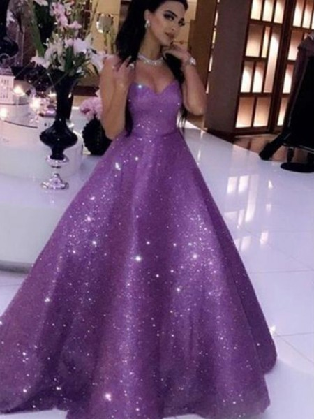 Ball Gown Sleeveless Sweep/Brush Train Sequins Ruffles Sweetheart Dresses