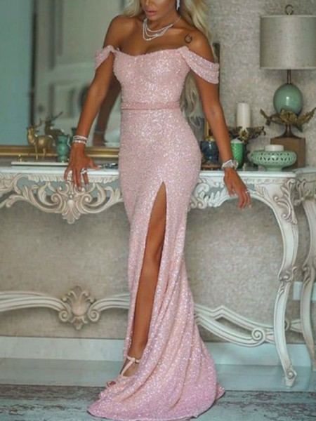 Trumpet/Mermaid Sleeveless Sequins Sash/Ribbon/Belt Sweep/Brush Train Off-the-Shoulder Dresses