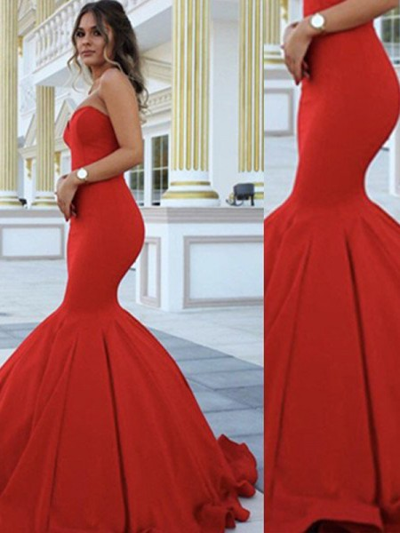 Trumpet/Mermaid Sweetheart Sleeveless Long Satin Dress