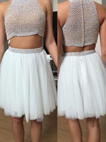A-Line/Princess High Neck Sleeveless Beading Short Tulle Dress
