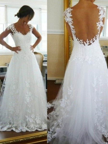 A-Line/Princess V-neck Sleeveless Long Tulle Wedding Dress