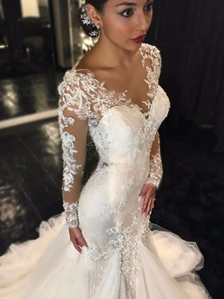 Trumpet/Mermaid V-neck Long Sleeves Long Tulle Wedding Dress