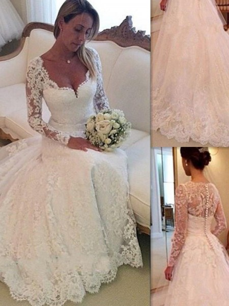 Ball Gown V-neck Sleeveless Long Tulle Wedding Dress