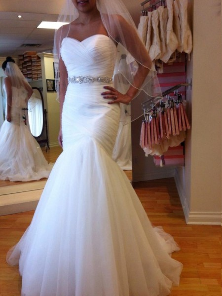 Trumpet/Mermaid Sweetheart Sleeveless Beading Long Tulle Wedding Dress