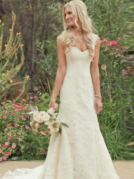 Trumpet/Mermaid V-neck Sleeveless Long Lace Wedding Dress