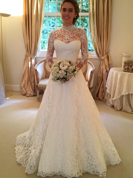 Ball Gown High Neck Long Sleeves Long Lace Wedding Dress