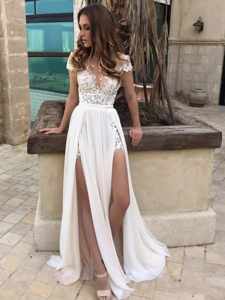 A-Line/Princess V-neck Sleeveless Long Chiffon Wedding Dress