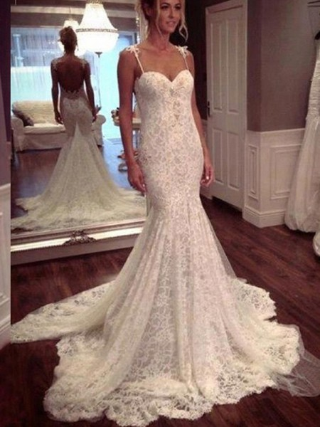 Trumpet/Mermaid Spaghetti Straps Sleeveless Long Lace Wedding Dress