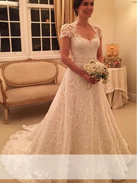 A-Line/Princess Sweetheart Short Sleeves Long Lace Wedding Dress