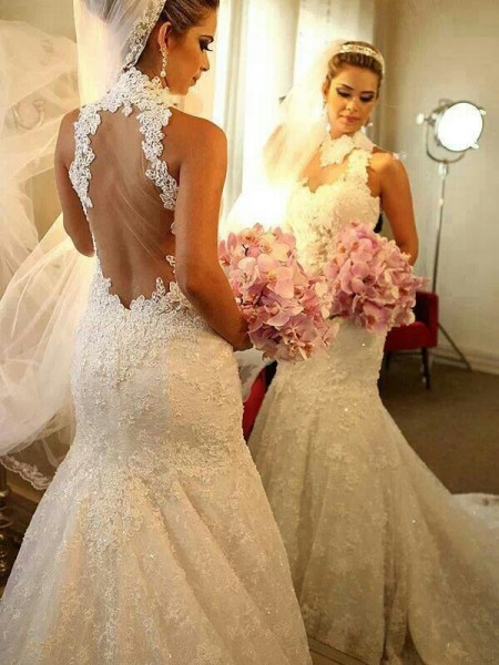Trumpet/Mermaid High Neck Sleeveless Long Lace Wedding Dress