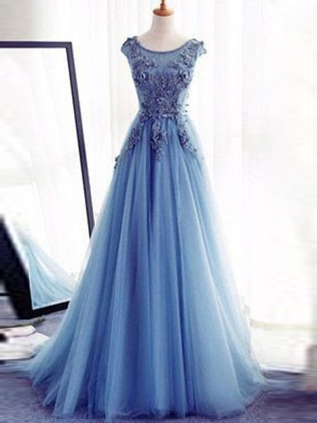 Ball Gown Jewel Sleeveless Applique Long Tulle Dress