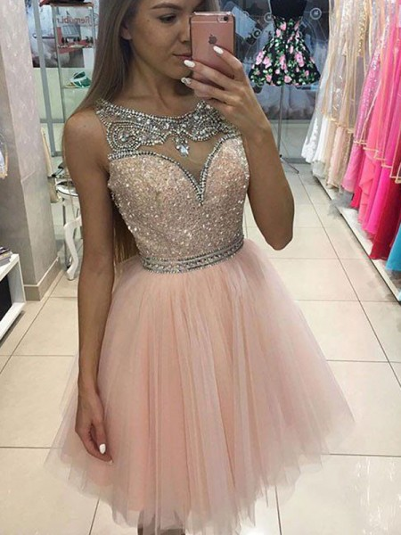 A-Line/Princess Scoop Sleeveless Beading Short Tulle Dress