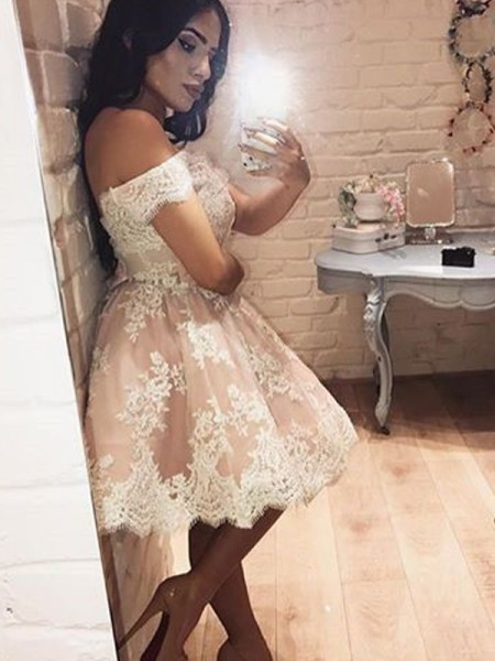 A-Line/Princess Off-the-Shoulder Sleeveless Short Lace Dress