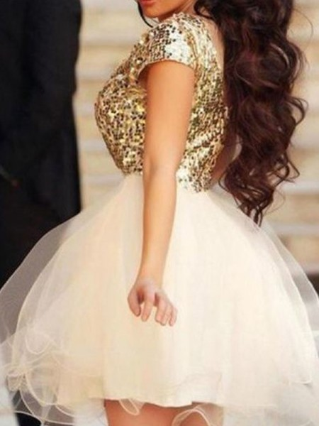 A-Line/Princess Scoop Sleeveless Sequin Short Tulle Dress