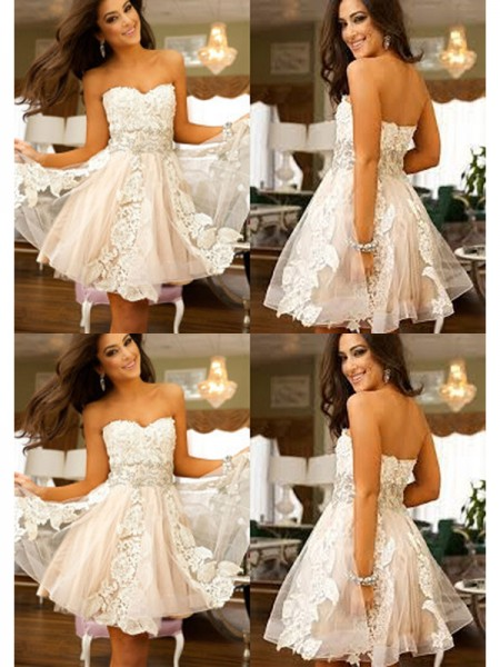 A-Line/Princess Sweetheart Applique Tulle Short/Mini Dress