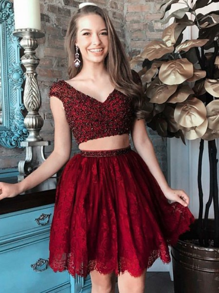 A-Line/Princess V-neck Beading Short/Mini Two Piece Dress with Lace