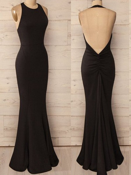 Trumpet/Mermaid Halter Floor-Length Spandex Dress
