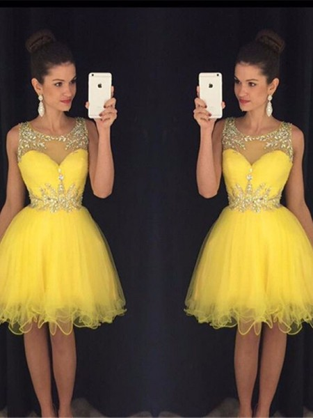 A-line/Princess Sleeveless Scoop Tulle Beading Short Dresses