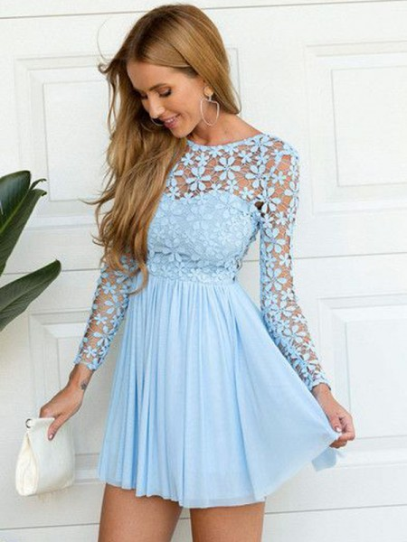 A-line/Princess Long Sleeves Scoop Chiffon Short Dresses